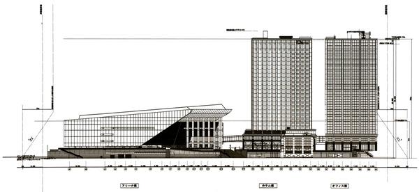 Kアリーナプロジェクト 立面図(北側)