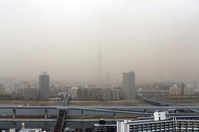 タワーマンションから見る煙霧と東京スカイツリー