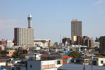 西水門広場から船堀駅方向の眺め