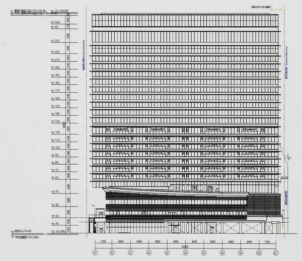 ウェスティンホテル横浜 東側立面図