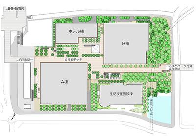 (仮称)TGMM芝浦プロジェクトの配置図