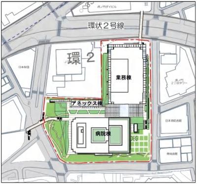 (仮称)虎ノ門二丁目計画の配置図