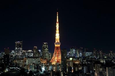 パークコート麻布十番ザ タワーから見た東京タワー夜景