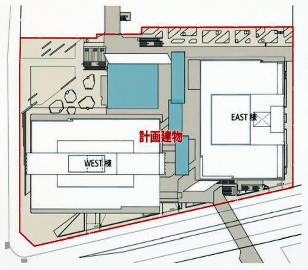 (仮称)みなとみらい21中央地区53街区開発事業 都市景観形成行為のお知らせ 配置図