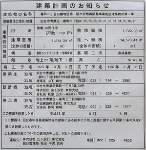 ザ 仙台タワー 一番町レジデンス 建築計画