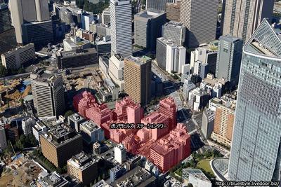 虎ノ門ヒルズ ステーションタワーの建設地の空撮