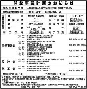 (仮称)三鷹駅直結タワープロジェクト 開発事業計画のお知らせ