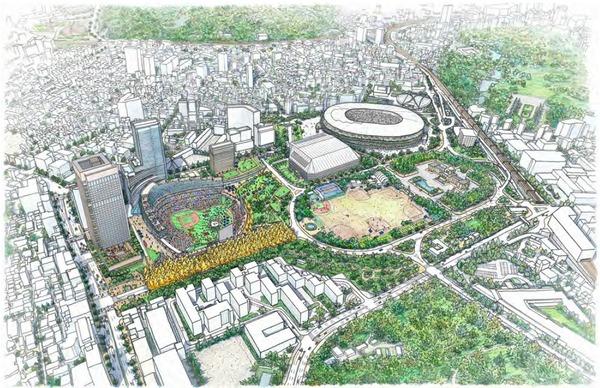 (仮称)神宮外苑地区市街地再開発事業 完成イメージ