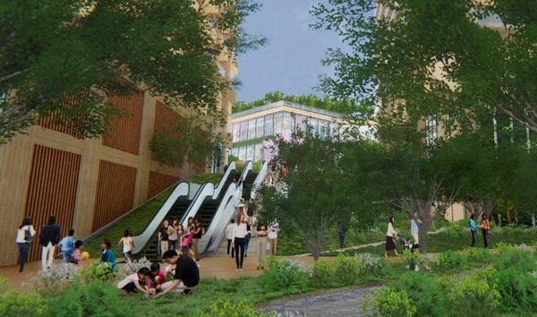 柏駅西口北地区市街地再開発事業 駅と第一小学校側をつなぐ通路イメージ