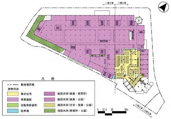 東金町一丁目西地区市街地再開発事業 建物平面図(地上2階)