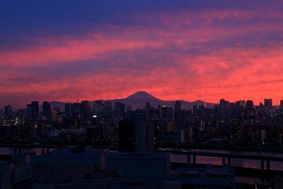 富士山方面の夕焼け