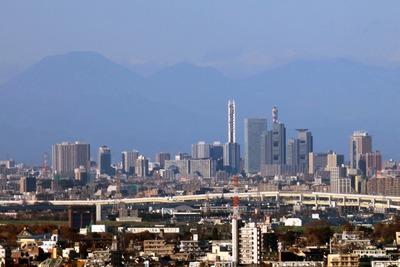 練馬区役所から見たさいたま新都心の超高層ビル群