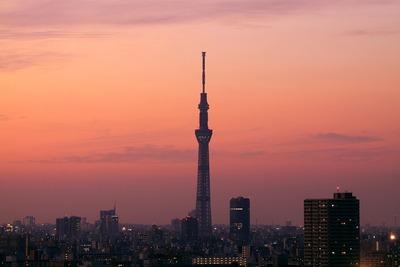 東京スカイツリーと東京夕景