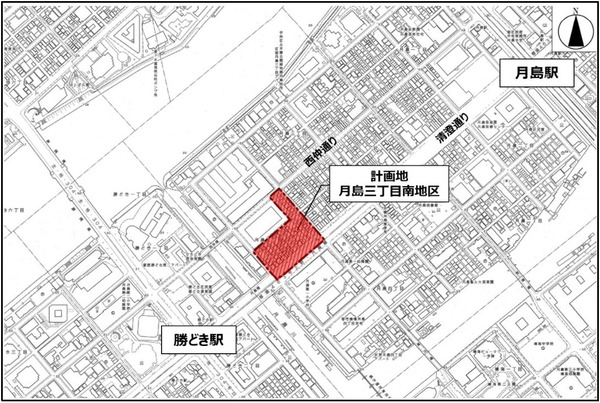 月島三丁目南地区第一種市街地再開発事業 位置図