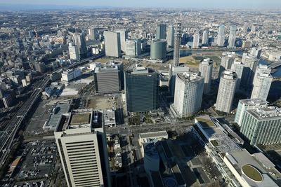 横浜ランドマークタワーから見たみなとみらい21