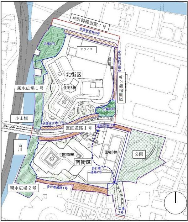三田小山町西地区第一種市街地再開発事業 配置図
