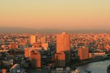 朝日に染まる東京