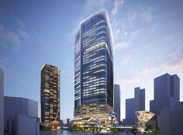(仮称)渋谷二丁目西地区第一種市街地再開発事業 北側(青山通り側)から見た計画地