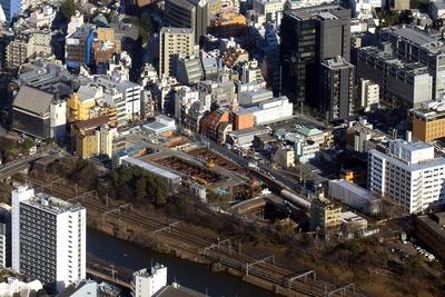 飯田橋駅西口地区第一種市街地再開発事業の空撮