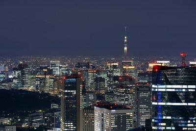 六本木ヒルズから東京駅方面の夜景