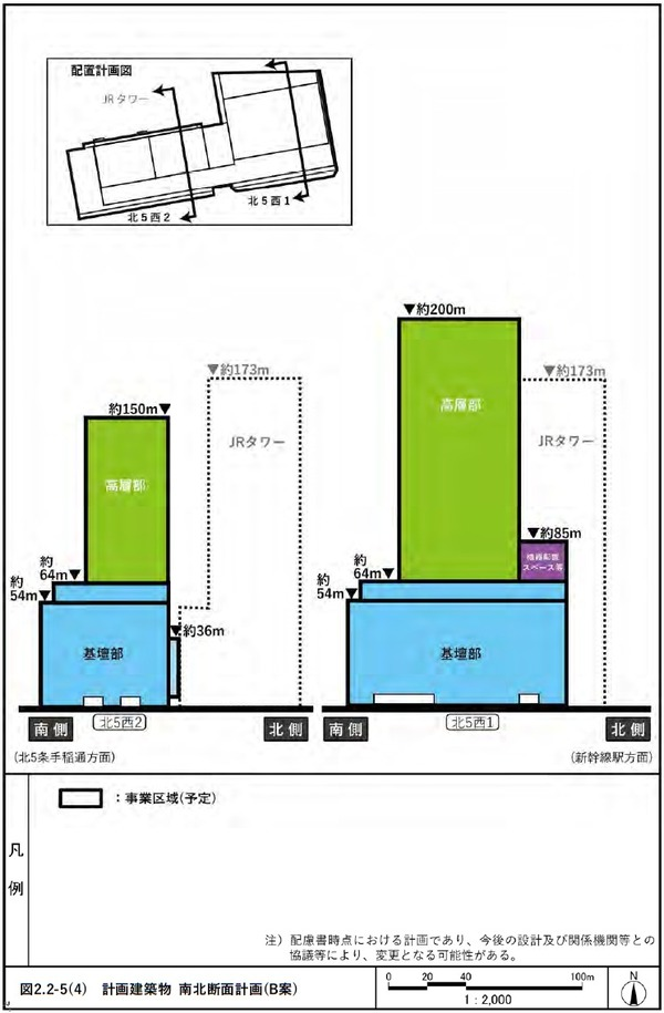 (仮称)札幌駅交流拠点北5西1・西2地区第一種市街地再開発事業 B案