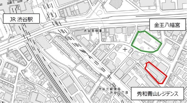 秀和青山レジデンス建替え計画 現地案内図