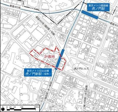 虎ノ門一・二丁目地区第一種市街地再開発事業 位置図