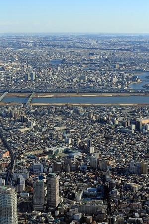 東京スカイツリーから見た曳舟方面