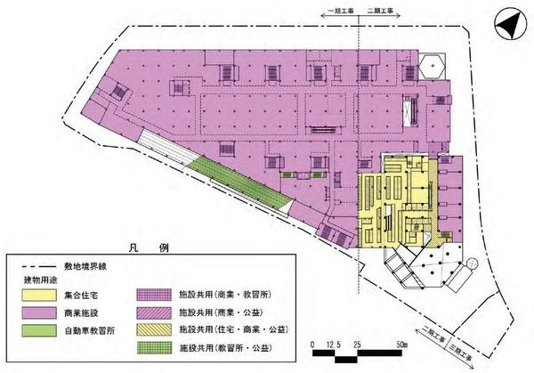 東金町一丁目西地区市街地再開発事業 建物平面図(地上3階)