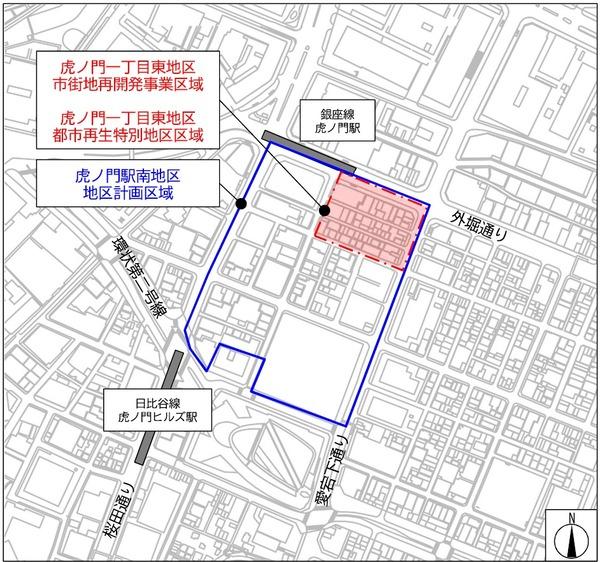 虎ノ門一丁目東地区第一種市街地再開発事業 位置図