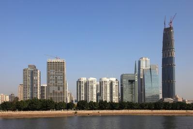 中国広州の超高層ビル群