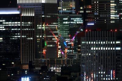 大手町一丁目第3地区のタワークレーン夜景