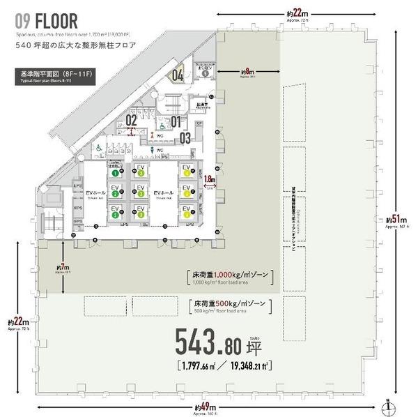 (仮称)住友不動産大崎東プロジェクト 基準階フロア図