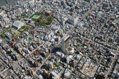 浅草タワーの建設地の空撮
