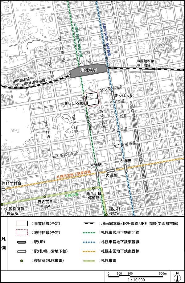(仮称)札幌駅南口北4西3地区第一種市街地再開発事業 位置図