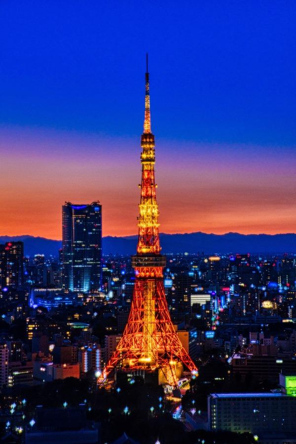 世界貿易センタービルから見た東京タワー明井