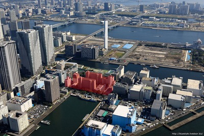 豊海地区第一種市街地再開発事業の計画地の空撮