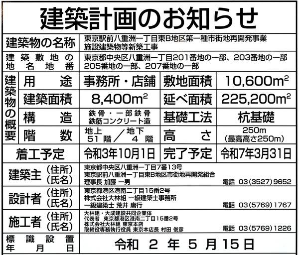 東京駅前八重洲一丁目東B地区第一種市街地再開発事業 建築計画のお知らせ