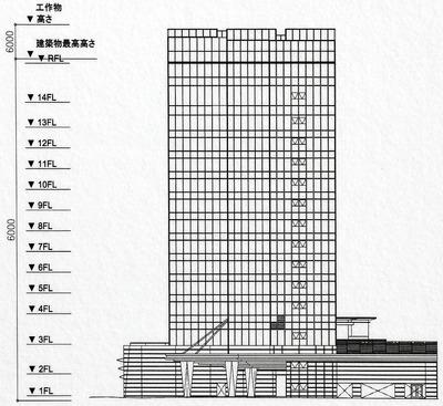 都市景観形成行為のお知らせ 立面図(西側)