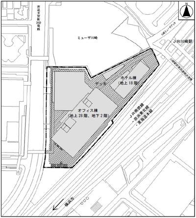 川崎駅西口開発計画 計画建物配置図
