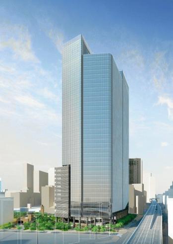 赤坂一丁目地区第一種市街地再開発事業の完成予想図