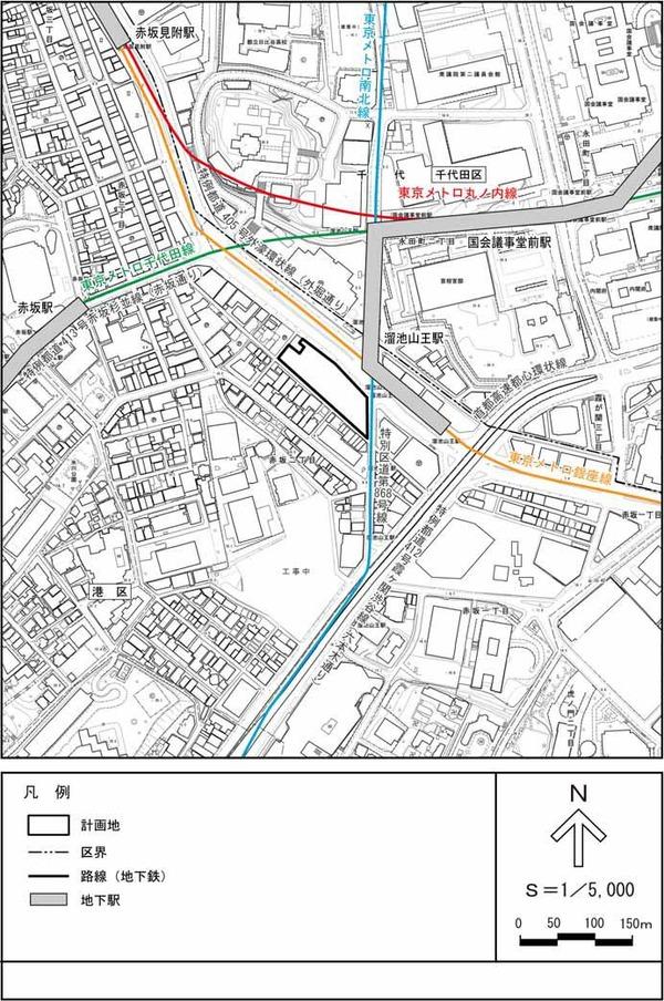 (仮称)赤坂二丁目計画 計画地位置図(詳細)
