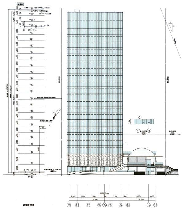 横濱ゲートタワー 都市景観形成行為のお知らせ 立面図(西側)