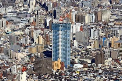 東京スカイツリーから見たアトラスブランズタワー三河島