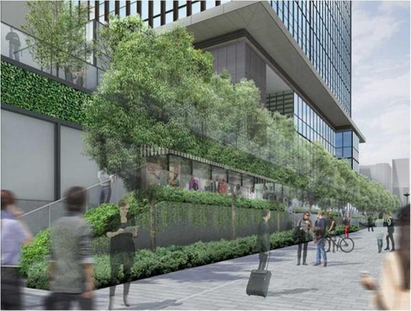 浜松町二丁目4地区 大通り側の緑化