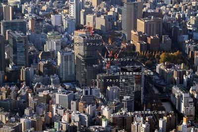 御茶ノ水の超高層ビル群の空撮