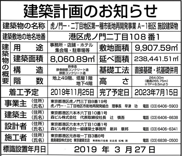 虎ノ門ヒルズ ステーションタワー A-1街区 建築計画のお知らせ
