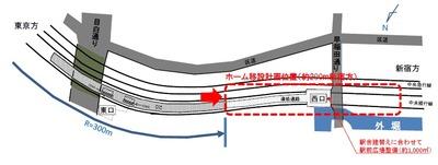 飯田橋駅の移設の平面図