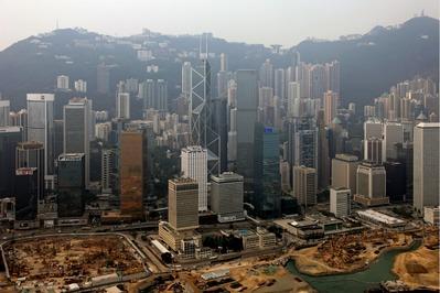 香港島のヘリコプター空撮