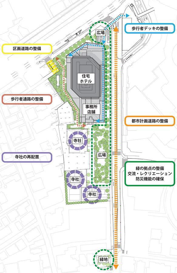 西麻布三丁目北東地区第一種市街地再開発事業 配置図